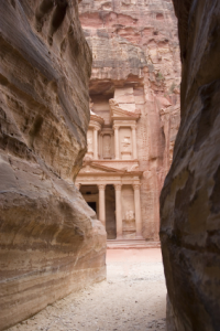 The rock city of Petra located in Jordan