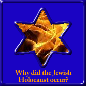 Star of David framing the flames of a fire which links to a page that discusses why did the Jewish Holocaust occur?